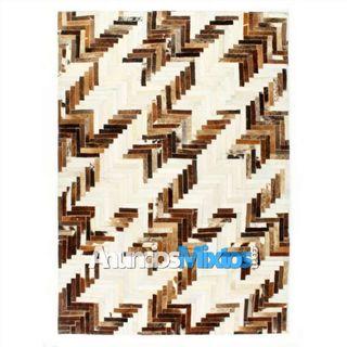 Alfombra de almazuela de cuero peludo marrón/blanc