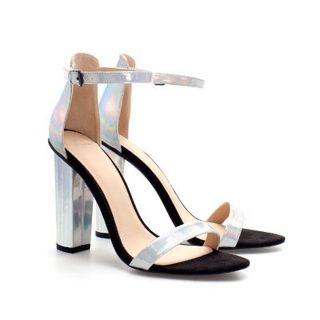 Sandalias plateadas tornasol Zara