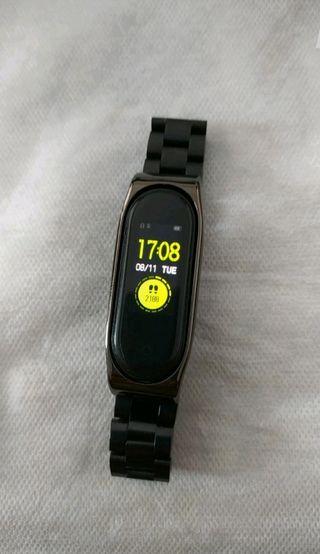 correa de acero negro para reloj xiaomi my band 4