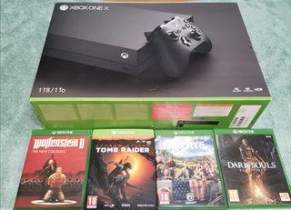 Xbox One X 1Tb, 4 juegos, como nueva