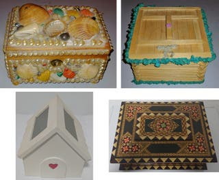 4 Cajas / Joyeros de madera (Vintage Retro)