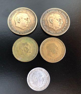 Lote 5 monedas Franco