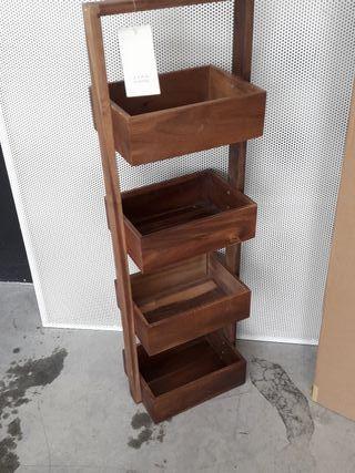 estante baño madera