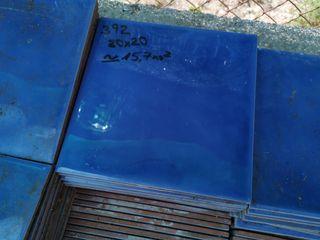 Lote de 392 baldosas 20x20 azul brillo