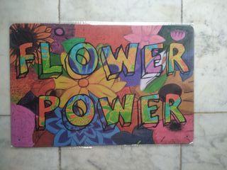 Chapa placa metal flower power decorativa repro