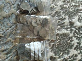 lote de monedas de 25 y 5 ptas y alguna de 50 cent