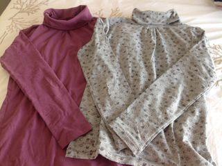 2 camisetas cuello alto, T 10-11 años