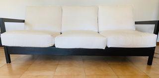 Sofá cama 3 plazas y butaca mecedora + alfombra
