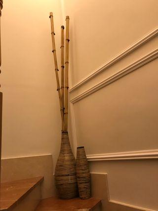 Jarrones con cañas de bambú natural