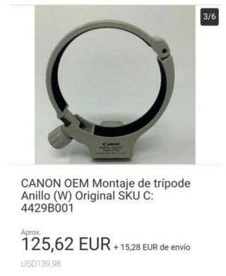 CANON OEM Montaje de tripode Anillo (W) Original