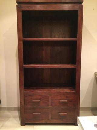 Mueble rústico estantería con 4 cajones