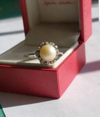 anillo de oro 18kt,perla y diamantes