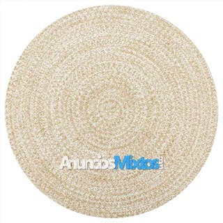 Alfombra hecha a mano de yute blanca y natural 150
