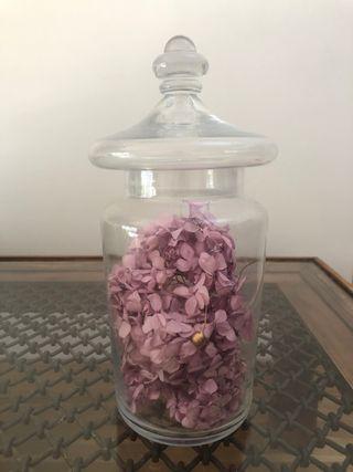 Tarro Cristal hortensias preservadas