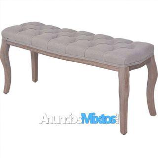 Banco de madera maciza y lino gris claro 110x38x48