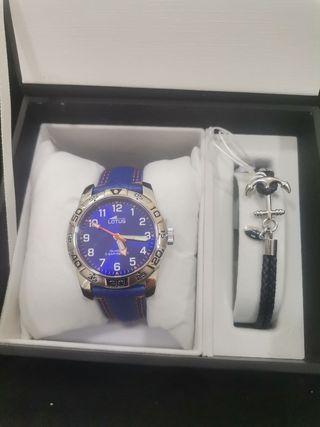 Conjunto de lotus pulsera y reloj cuero