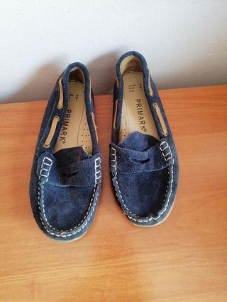 zapatos talla 32 estilo mocasines en azul marino