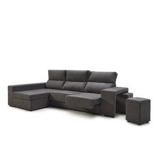 Sofá chaiselongue MARTE tapizado color gris