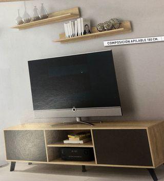 Mueble tv con estantes L