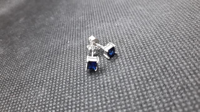 Created Sapphire Stud Earrings 925 S.S