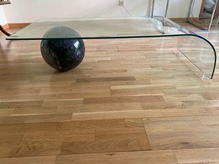 Mesa salón diseño mármol y cristal