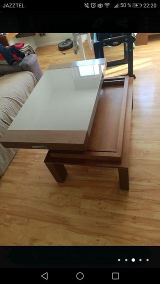 mesa salón de madera y cristal
