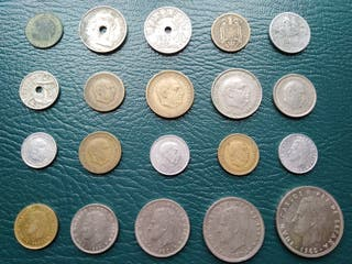 Lote de 20 monedas españolas. Todas Diferentes.