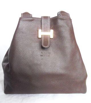 . bolso piel marrón