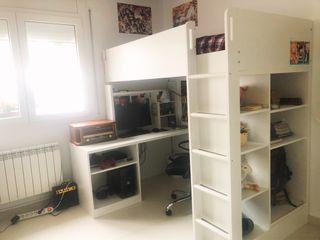 Cama alta + escritorio (IKEA STUVA / FRITIDS)