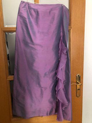 Vestido de fiesta de seda morado talla 42