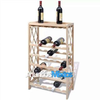 Botellero con estantes de madera para 25 botellas