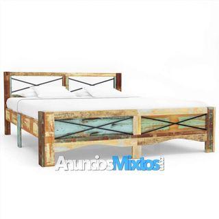 Estructura de cama de madera maciza reciclada 180x