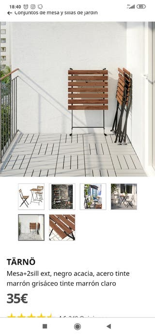 Juego mesa y dos sillas terraza ikea