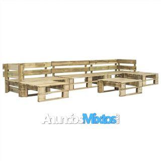 Set de muebles de palés para jardín 6 piezas mader