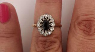Vintage Anillo Oro18k Zafiro Y Diamantes