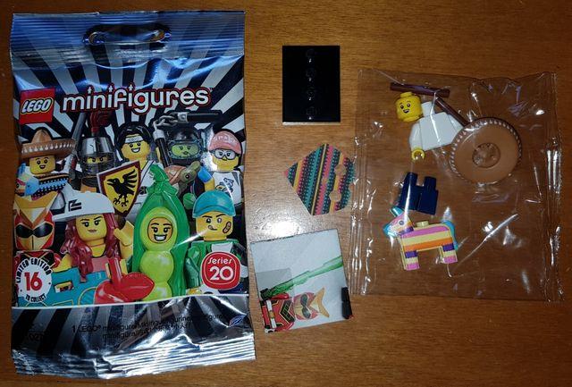 minifigura Lego serie 20 chico piñata unicornio