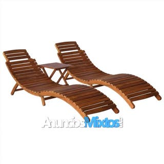 Set de tumbonas con mesita 3 piezas madera maciza