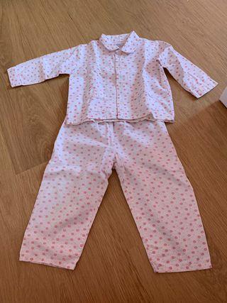 Pijama niña 2 años manga larga finito.