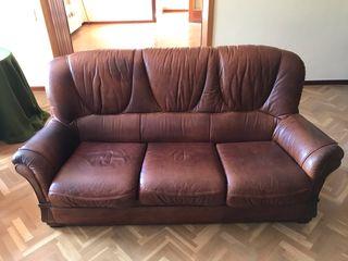Sofá marrón piel cuero