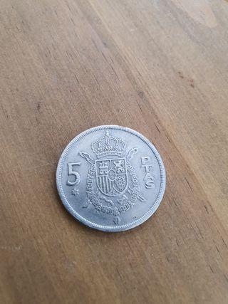 Moneda 5 pesetas 1975.