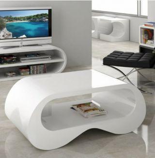 mesa de centro lacada blanca