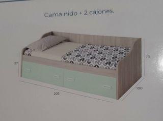 CAMA NIDO CON DOS CAJONERAS MADERA BLANCA