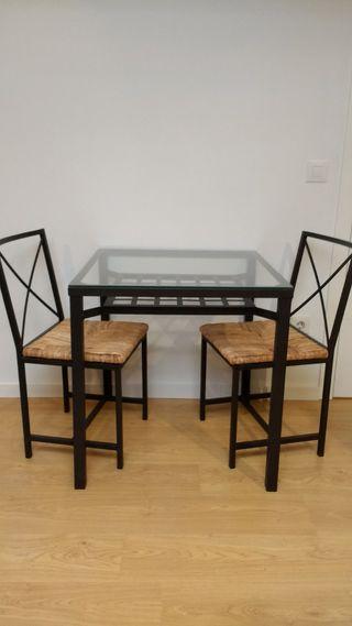 Mesa forja Ikea y 2 sillas