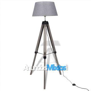 Lámpara de pie ajustable de madera tipo trípode co