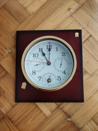 Reloj termómetro pared bañado en oro