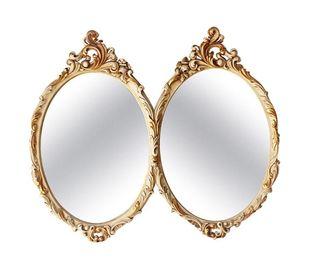 Doble Espejo Ovalado Rococo Barroco Luis XV