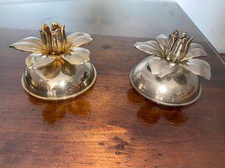 Palmatorias o base para velas en plateada y dorada