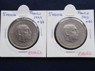 Lote de 2 monedas de 5 pesetas de 1949 *49 y *50