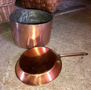 Cazo sartén cobre antiguo