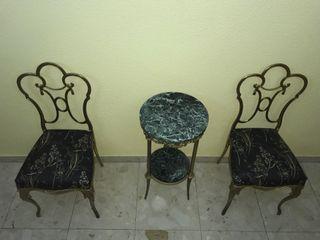 Mesa y 2 Sillas de Bronce Peris Andreu